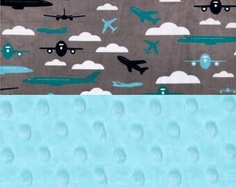 SALE Minky Baby Blanket/ Personalized Baby Blanket / Blue Gray Airplane, Teal Aqua // Plane baby blanket // Name Blanket / Baby Shower Gift