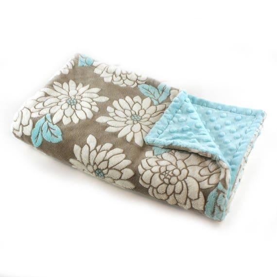 Blue Flower Blanket / Minky Baby Blanket Girl, Gray White Aqua Flower Blanket // 29 x 35 in Ready to Ship