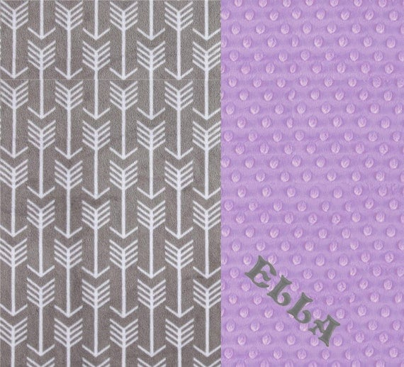 Gray Arrow Toddler Blanket, Minky Blanket Girl, Minky Throw Blanket, Kids Minky Blanket, Lilac Gray Arrow Blanket, Personalized Gift