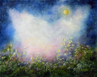 Landscape Painting, Original Painting Landscape, Moon, Flowers, Wall Decor, Canvas Art, Home Decor