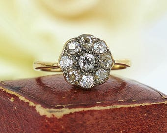Antique 18K Gold English Diamond Daisy Cluster Ring