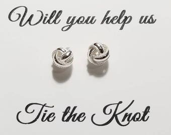Will You Help Me Tie the Knot - Simple Sterling Silver Textured Love Knot Stud Earrings