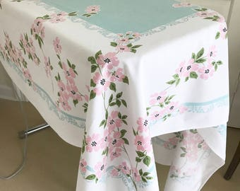 Vintage Tablecloth Floral Picnic Square Table Cloth Pink Dogwood Flowers Pastel Colors