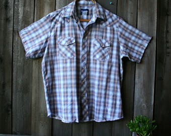 Vintage Short Sleeve Shirt Mens Country Western Wrangler Plaid Blue Brown White Snaps Vintage From Nowvintage on Etsy