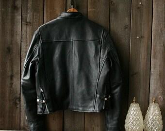 Womens Leather Biker Jacket Medium 1990s Vintage From Nowvintage on Etsy