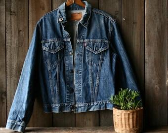 Levis Jeans Jacket Dark Blue Denim Coat Vintage From Nowvintage on Etsy