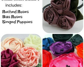 Mixed Fabric Flower Tutorials 1 ... includes 3 fabric flowers