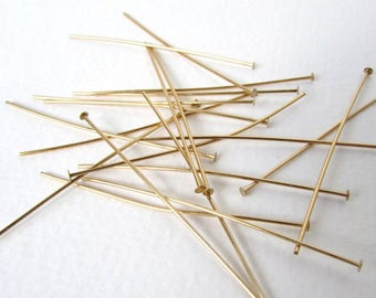 Raw Brass Head Pin Gold Color Wire Headpin 21 gauge 2 inches hdp0002 (50)
