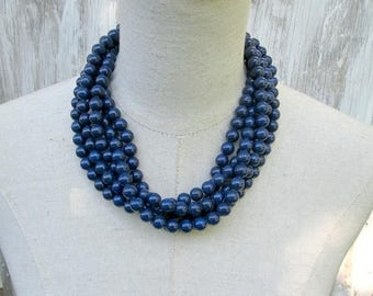 XMAS in JULY SALE Chunky Navy Blue Layered Multi Strand Beaded Necklace