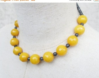 XMAS in JULY SALE Yellow and Grey Beaded Necklace Choker, Single Strand