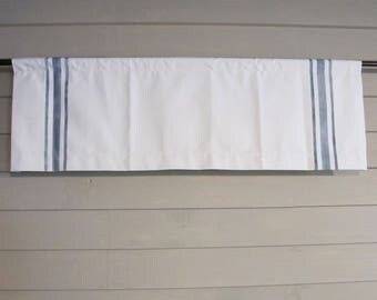 Blue Stripes on Off White Canvas Valance Rod Pocket or Ring and Clip Hand Painted Stripes Country Farmhouse Feed Sack Grain Sack