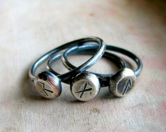ON SALE Personalized ring, sterling silver ring, rune sign, rustic oxidized ring - Rune ring