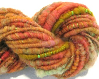 Bulky Handspun yarn Lantana 45 yards corespun thread wrapped yarn orange pink green knitting supplies crochet supplies Waldorf doll hair