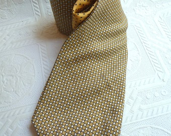 Tommy Hilfiger Necktie, vintage Necktie, unique, Mens accessories, Mens Tie, Made in USA ,100 Percent Silk,yellow white,checkered,polka dots