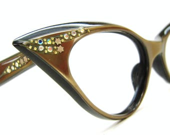 Vintage Winged Cat Eye Glasses Eyeglasses or Sunglasses France Frame
