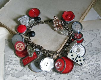 OOAK Repurposed Button Charm Bracelet, Retro Handmade Jewelry