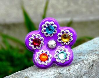 Bohemian Fleurette ஐ Bague Unique violet multicolore fleur polymère strass fait main Tikaille.