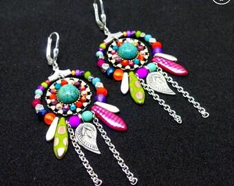 Ethnic Spirit . Boucles d'oreilles uniques argent 925 créoles tribal argent 925 turquoise verre bohème multicolore design original Tikaille