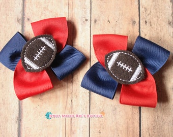 Girls Hair Bows--Red and Blue Football Bows