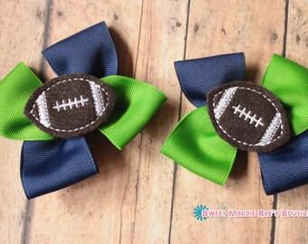 Girls Hair Bows--Apple and Navy Football Bows
