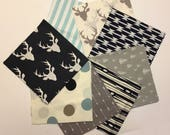 Baby Boy Rag Quilt Kit, Woodland Quilt Kit, Quilt Blanket Kit, Navy, Blue, Grey, Gray, Modern, Rustic, Deer, Woodland, Arrows, Easy to Make