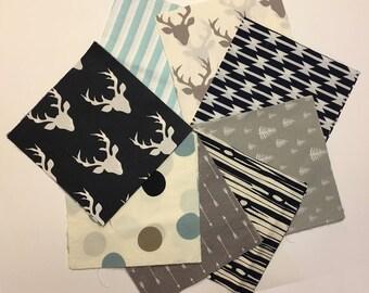 Baby Boy Rag Quilt Kit, Woodland Quilt Kit, Quilt Blanket Kit, Navy, Blue, Grey, Gray, Modern, Rustic, Deer, Woodland, Arrows, Easy to Make