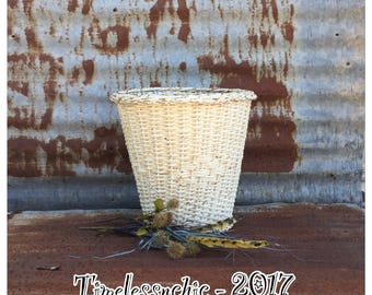 Vintage Trash Can - Wicker Trash Can - Waste Basket - Magazine Holder - Shabby Chic Decor - White Wicker Basket - Pendant Light - Planter