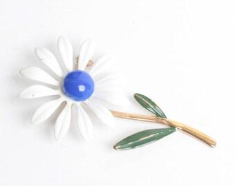 Daisy Flower Brooch White and Blue Enamel Mod Flower Power Vintage