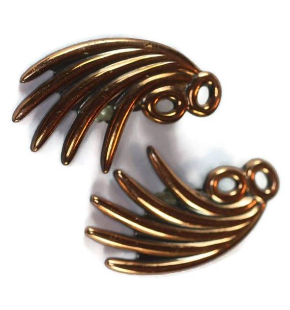 Renoir Copper Earrings Modernist Mid Century Ear Climbers Fan Shaped Vintage