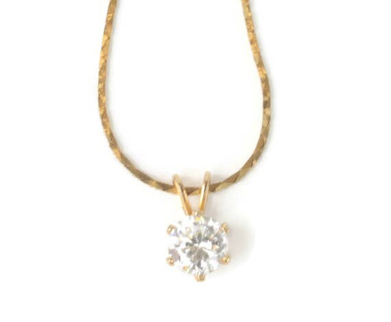 Clear Crystal Pendant Necklace Gold Tone 18 Inch Chain Vintage