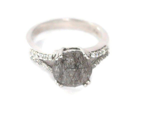 Rutilated Quartz Ring Clear Crystals Platinum over Brass Size 8 Plus Karis Signed