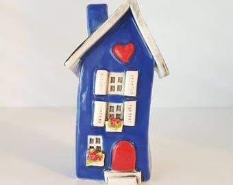 Little Clay House | Cobalt Blue Ceramic House | Miniature House | Whimsical house | Fairy House | Clay Cottage | Housewarming gift