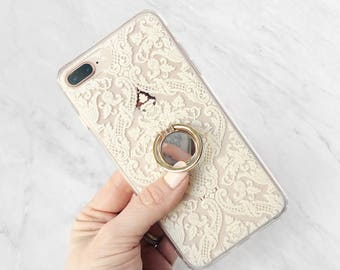 Phone Grip Ring Holder - Damask Case Set, iPhone or Samsung Galaxy Finger Grip Phone Ring Stand Gold Cute