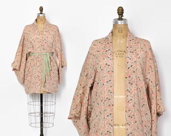 Vintage 60s Silk KIMONO Jacket / 1960s Pastel Pink Boho Haori Duster
