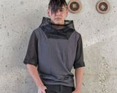 CUSTOM ORDER for Neur0tribl : Dystopia cyberpunk men's top by Plastik Wrap, one of a kind M