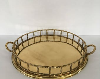Vintage Round Brass Faux Bamboo Tray