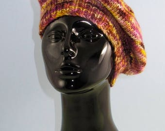 40% OFF SALE Instant Digital File pdf download knitting pattern - Chunky Self Striping Tam Beret Hat pdf download knitting pattern