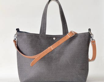 Canvas tote bag, Work bag, Messenger bag, Carry all, Diaper bag,Travel bag,Black gray Striped tote,waterproof,Zipper and 5 pockets
