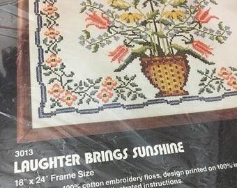 Christmas Sale Vintage 1970s Cross Stitch Sampler Kit Embroidery Floral Dimensions Needlework Laughter Brings Sunshine