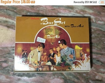 Christmas Sale 1960s Deluxe Bar Set Boxed Gift Set Hollywood Regency Japan Stainless and Wood