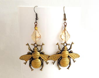 bee earrings, baroque crystal earrings, bronze, victorian gold patina bee jewelry, large