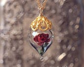ON SALE Classic Red Rose Flower Terrarium Glass Vial Necklace - 14kt. Gold Fill - Beauty and the Beast - by Woodland Belle