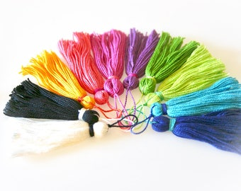 Set of Ten Silk Tassels. Multi-Color Jewel Tones. DIY Craft Supplies & Jewelry Making.