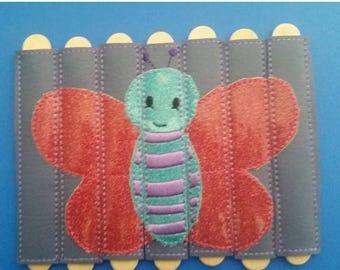 Flash Sale Butterfly Stick Puzzle - Seven Pieces - vinyl - school - classroom - educational - Quiet Toy - Busy Bag - Activity Bag - popsicle