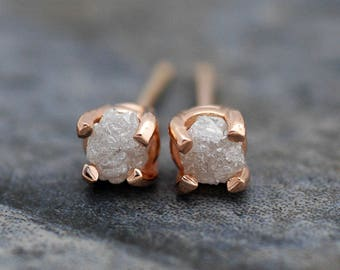 Last Pair- Conflict-Free Rough Diamonds in Recycled 14k Rose Gold Earrings