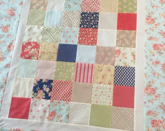AVALON ANTIQUE ROSE Modern Quilt Top - 43 X 48 - Unfinished Quilt - handmade quilt top, avalon, moda collection, baby quilt, baby blanket