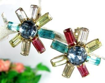 Vintage PASTEL STAR RHINESTONE Earrings Snowflake Clip On