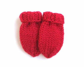 Hand Knit Baby Mittens Size 3 to 6 months, Scarlet Red Thumbless Mitts, Gender Neutral Warm Winter Clothing Infant Boy or Girl READY TO SHIP