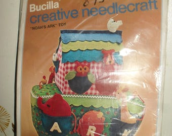 Craft Kit - Bucilla = Creative needlecraft - Noah's Ark toy - Unused 1970s