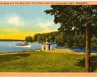 Vintage New Hampshire Postcard - Endicott Rock and the US Mail Boat on Lake Winnipesaukee (Unused)